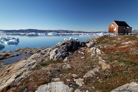 Red house in settlement of Tiniteqilaaq on Sermilik Fjord, East Greenland (Brad Mitchell)