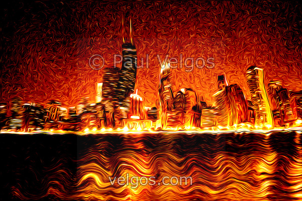 Digital painting photo of Chicago Hell. Image has the  Chicago skyline at night with the Hancock building in a distorted evil looking red fiery inferno nightmare. (Paul Velgos)