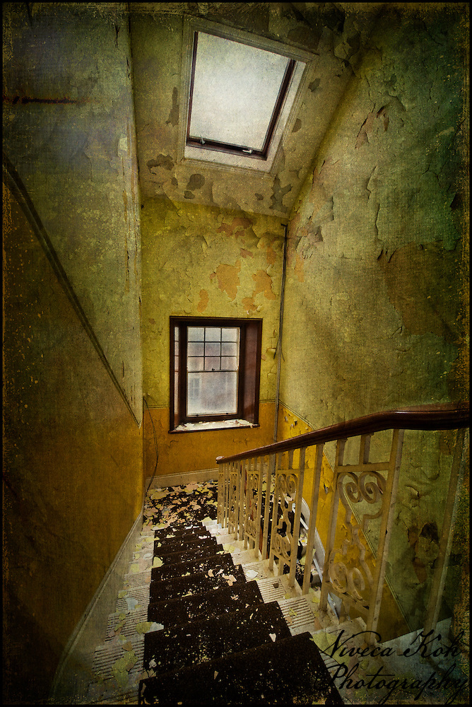 Staircase in an abandoned asylum, with windows (Viveca Koh ARPS)