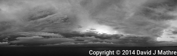Morning Storm Clouds on the Tagus River in Lisbon, Portugal from the Deck of the MV Explorer. Composite of 17 images taken with a Leica X2 camera (ISO 100, 24 mm, f/4.5, 1/60 sec). AutoPano Giga Pro, Silver Efex Pro. (David J Mathre)