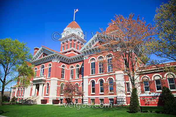 Crown Point Courthouse in spring. The Lake County Courthouse was Built in 1878 and is nicknamed The Grand Old Lady. The courthouse architecture is Romanesque and Georgian. Today it's used for events and has a ballroom and restaurants. (Paul Velgos)