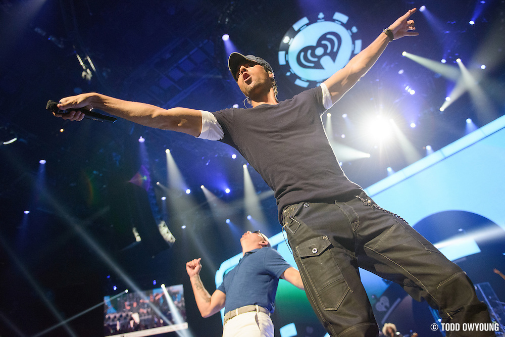 Enrique Inglesias and Pitbull performing at the iHeartRadio Music Festival in Las Vegas, Nevada on September 22, 2012. (Todd Owyoung)