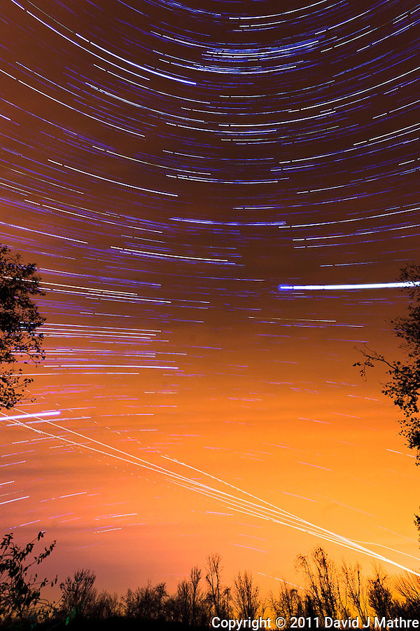 South View Star Trails. Late Autumn Night in New Jersey. Image taken with a Nikon D3 and 14-24 f/2.8 lens (ISO 200, 15 mm, f/5.6, 60 sec). Composite of images 201-300 combined using the Startrails program. (David J Mathre)