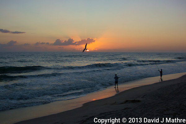 Tern and Two Fisherman at Sunrise. Playalinda Beach, Canaveral National Seashore in Florida. Image taken with a Nikon 1 V2 camera and 18.5 mm f/1.8 lens (ISO 200, 18.5 mm, f/4, 1/1000). (David J. Mathre)