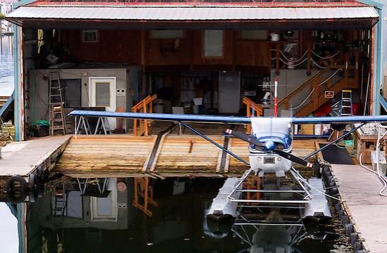 Seaplane at dock hanger, Petersburg, Alaska, USA (Brad Mitchell)