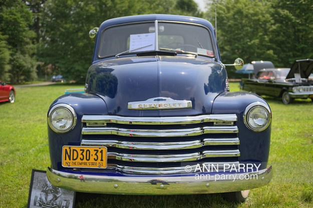 Old Westbury, New York, USA. June 2, 2019. The antique 1951 blue Chevrolet pickup truck, owned by Debbie Dugan of Glen Head, is an entry at the 53rd Annual Spring Meet Antique Car Show, sponsored by the Greater NY Region of the Antique Automobile Club of America, at Old Westbury Gardens. (© 2019 Ann Parry/Ann-Parry.com)