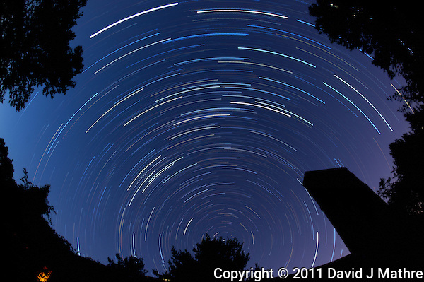 North View Star Trails. Autumn Early Morning in New Jersey. Image taken with a Nikon D3 and 16 mm f/2.8 mm Fisheye lens (ISO 200, 16 mm, f/4, 1 min 59 sec). Composite of 56 images combined using the Startrails program. (David J Mathre)