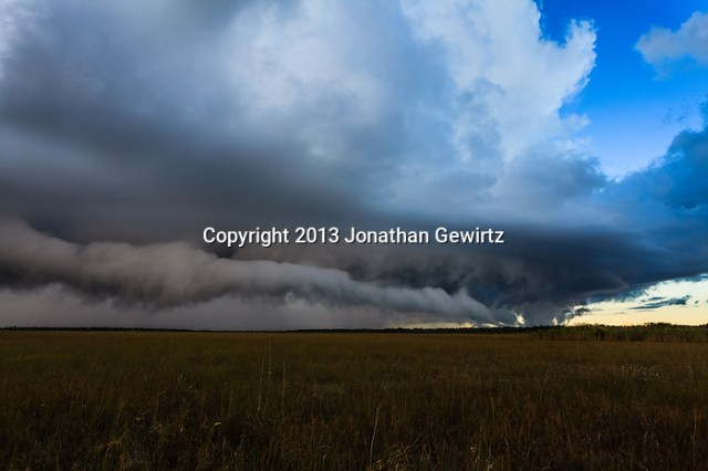 Low clouds on the gust front of a morning rain storm move over the sawgrass prairie in Everglades National Park, Florida. (Jonathan Gewirtz   jonathan@gewirtz.net)