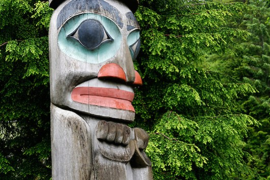 Detail on Raven Stealing the Sun totem pole, downtown Ketchikan, Alaska (Copyright Brad Mitchell Photography.9601 Wall St.Snohomish, WA 98296.USA.425-418-7279.brad@bradmitchellphoto.com)