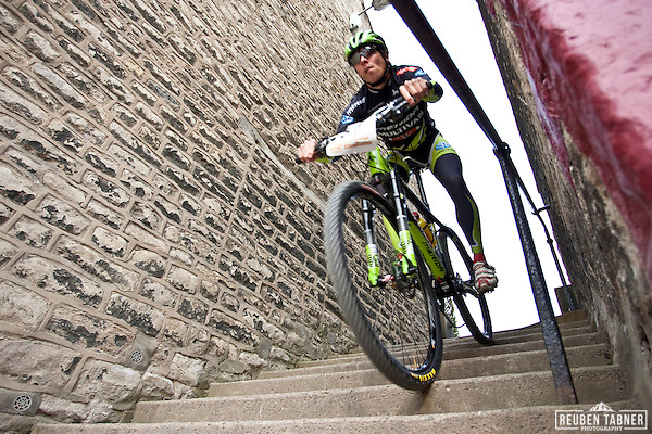 The 2010 Mountain Bike World Cup gets under way with the Pro Sprint Eliminator through the streets of Pickering, North Yorkshire. (Reuben Tabner)