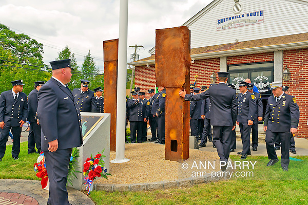 North Bellmore Fire Department 9/11 remembrance ceremony and unveiling of two pieces of steel from World Trade Center added to existing 9/11 monument, North Bellmore, New York, USA, on September 10, 2011. (Ann Parry/Ann Parry, Ann-Parry.com)