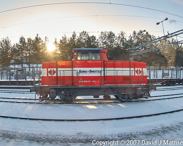 Train Spotting: Euro Shuttle SKD-226.31 Engine viewed while traveling from Oslo to Bergen. Image taken with a Nikon D2xs camera and 10.5 mm f/2.8 fisheye lens. (David J Mathre)