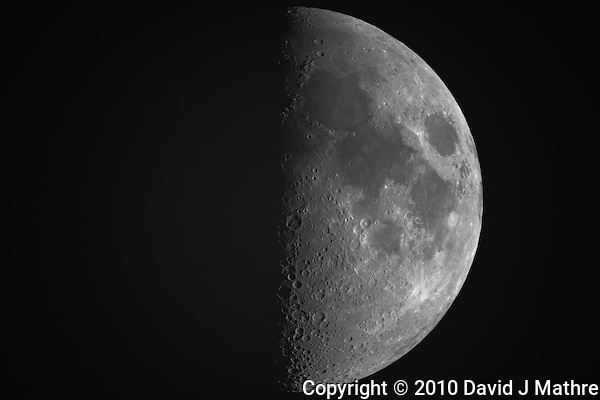 """First Quarter Moon from New Jersey. Image taken with a Nikon D3x and Questar 7"""" Telescope (ISO 100, ~1600 mm, f/16, 1/50 sec) (David J Mathre)"""