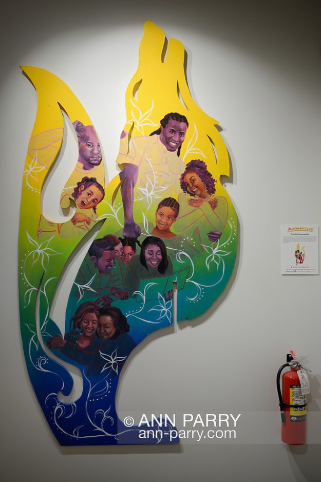 Roslyn, New York, U.S. July 7, 2019. The Wolf Animodule is on display at the exhibition of Animodules, an urban artform of nonviolent superheroes, at the Manes Center at Nassau County Museum of Art, on Gold Coast of Long Island. (© 2019 Ann Parry/Ann-Parry.com)