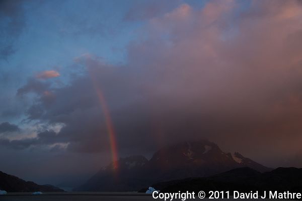 Early Morning Rainbow, Lago Grey, Torres del Paine, Chile. Image taken with a Nikon D3s and 28-120 mm f/4 lens (ISO 200, 31 mm, f/5.6, 1/25 sec). (David J Mathre)