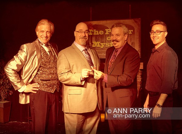 Lindenhurst, NY, USA. Sept. 23, 2018. Magicians (L-R) R.J. LEWIS, JOE SILKIE, BOB YORBURG, and DAVID ROSENFELD pose after performing in Comedy Magic Show presented by The Parlor of Mystery.  (© 2018 Ann Parry/Ann-Parry.com)