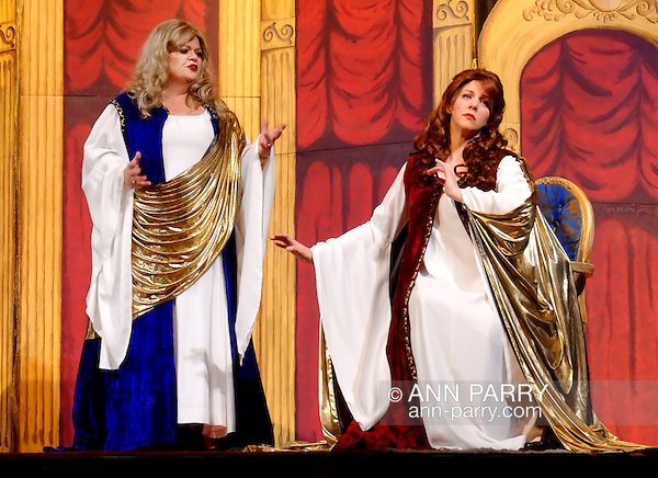 "MERRICK, NY - February 21: Duelling Divas stars, sopranos Birgit Firavante and Wendy Reynolds - wearing Roman cloaks and singing ?Mira, O Norma? and ?Casta Diva? from Bellini's ""Norma"" - in comic opera concert presented by Merrick Bellmore Community Concert Association on February 21, 2010 at Merrick, NY. (Ann Parry/Ann Parry, ann-parry.com)"