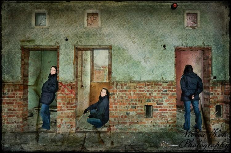 Multiplicity self portrait at Hellingly Asylum (Viveca Koh)