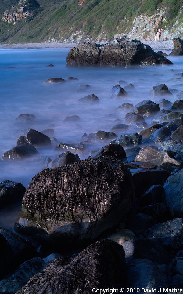 Long Exposure Exercise at Sand Dollar Beach, Big Sur Central California Coast. Image taken with a Nikon D3x and 50 mm f/1.4G lens and Singh-Ray Filter (ISO 100, 50 mm, f/16, 15 sec). (David J Mathre)
