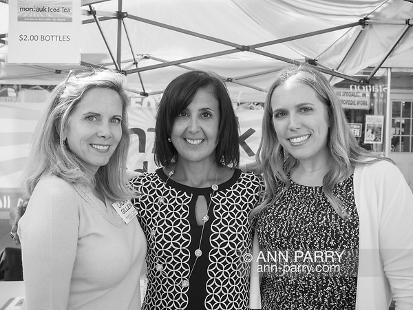 Merrick, New York, USA. September 9, 2017. L-R, LAURA GILLEN, Democratic candidate for Town of Hempstead Supervisor; SYLVIA CABANA, Democratic candidate for Town of Hempstead Clerk; and SUE MOLLER, of Merrick, Democratic candidate for Hempstead Town Council District 6, attend the Merrick Fall Festival and Street Fair. (Ann Parry/Ann Parry, ann-parry.com)
