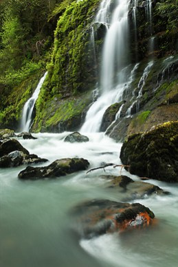 Un-named waterfalls dropping into the Boulder River, Boulder River Wilderness, Mount Baker-Snoqualmie National Forest, Washington, USA