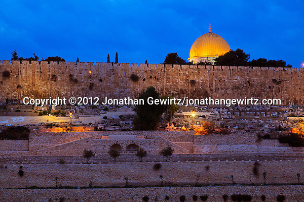 Jerusalem's Dome of the Rock and Old City walls shortly before dawn. (© 2012 Jonathan Gewirtz / jonathan@gewirtz.net)