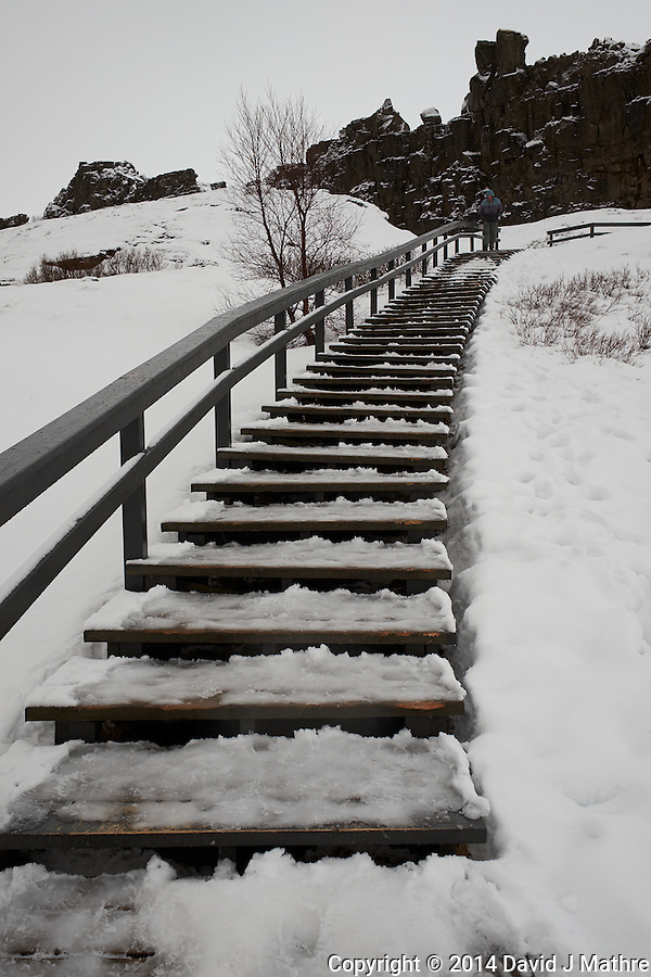 Snow, Slush, and Ice Covered Stairway at Thingvellir (Þingvellir) National Park in Iceland. Image taken with a Fuji X-T1 camera and 23 mm f/1.4 lens (ISO 200, 23 mm, f/5.6, 1/240 sec). Raw image processed with Capture One Pro. (David J Mathre)