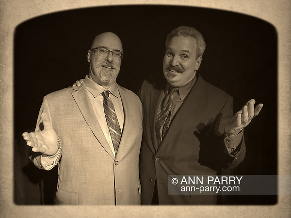 Lindenhurst, NY, USA. Sept. 23, 2018. L-R, Magicians Joe Silkie and Bob Yorburg pose after performing in Comedy Magic Show presented by The Parlor of Mystery. (© 2018 Ann Parry/Ann-Parry.com)