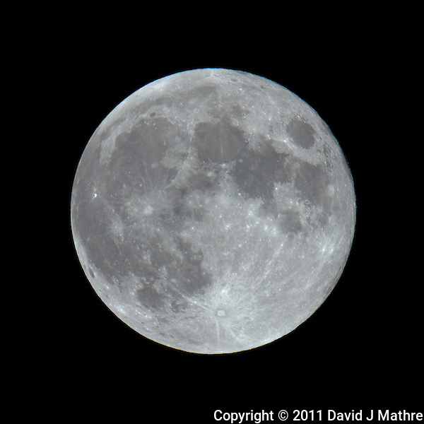 Late Spring Full Moon over New Jersey. Image taken with a Nikon D3x and 600 mm f/4 VR lens + TC-E III 20 (ISO 100, 1200 mm, f/16, 1/100 sec) on a Gitzo tripod and Wimberley Head. Raw image processed with Capture One Pro, Focus Magic, and Photoshop CS5 (David J Mathre)