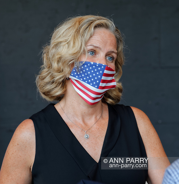 East Meadow, New York, U.S. September 10, 2020. Nassau County Executive LAURA CURRAN wears a face mask with American flag design, at the county Remembrance Ceremony at Eisenhower Park commemorating 19th anniversary of September 11 2001 terrorist attacks. Because of COVID-19 concerns, all present wore face masks, if they couldn't social distance, unless speaking during ceremony. (© 2020 Ann Parry/AnnParry.com)