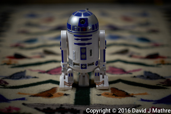 It was a rainy day, and the R2D2 USB port got loose. Image taken with a Fuji X-T1 camera and 56 mm f/1.2 lens (ISO 200, 56 mm, f/1.2, 1/40 sec). (David J Mathre)