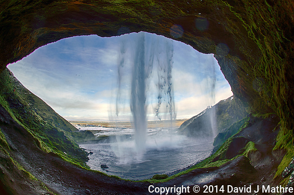 Fisheye View From Behind Seljalandsfoss, a Waterfall in Southern Iceland. HDR composite of 3 images taken with a Nikon Df camera and 16 mm f/2.8 fisheye lens (ISO 100, 16 mm, f/10) using Capture One Pro and Google HDR Efex Pro 2. (David J Mathre)