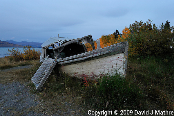 Derelict Boat at Burwash Landing, Yukon Canada. On Kluane Lake along the Alaska Canada Highway. Image taken with a Nikon D3 and 14-24 mm lens (ISO 800, 24 mm, f/8, 1/30 sec) (David J Mathre)