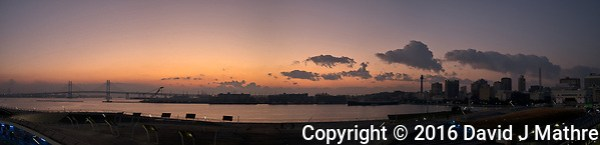 Yokohama Skyline Panorama at Dawn from the Deck of the MV World Odyssey while Docked at the Osanbashi Pier. Composite of six images taken with a Fuji X-T1 camera and 23 mm f/1.4 lens (ISO 200, 23 mm, f/2.8, 1/60 sec). Raw images processed with Capture One Pro and the composite created using AutoPano Giga Pro. (David J Mathre)