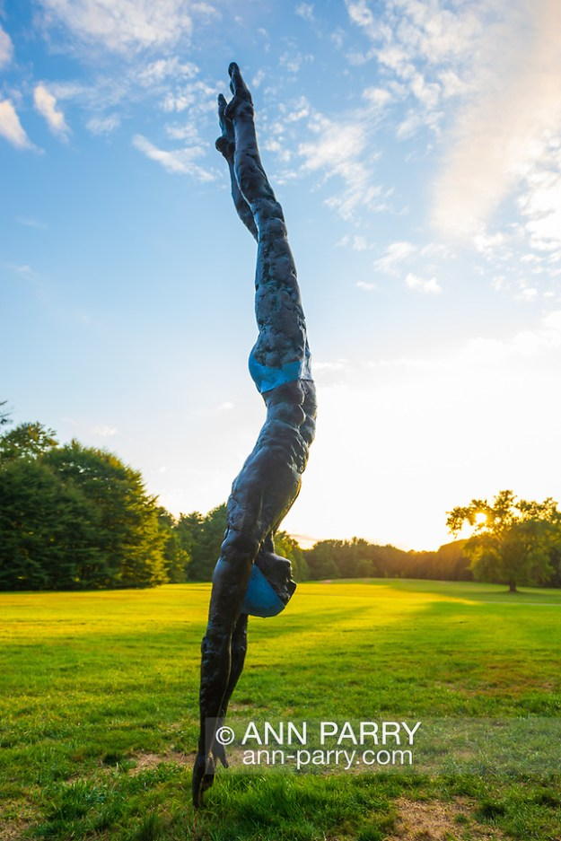 "Old Westbury, New York, U.S., September 1, 2019. ""Athlete III - Deep Plunge"" is one of 33 outdoor sculptures by Jerzy Kędziora (Jotka), b. 1947 in Poland,, and his Balance in Nature art is on view at historic Old Westbury Gardens in Long Island, until October 20, 2019. Seen at dusk, the life-size, bronze resin balancing sculpture, dressed in blue swimwear, appears about to dive into the lawn. (© 2019 Ann Parry/Ann-Parry.com)"