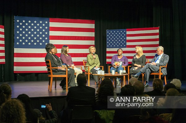 Port Washington, New York, USA. April 11, 2016. HILLARY CLINTON, Democratic presidential primary candidate, has a discussion on gun violence prevention with Rep. STEVE ISRAEL and activists who lost family members due to shootings: (L-R) RITA KESTENBAUM who lost her daughter Carol at Arizona State University; MARIE DELUS who lost her nephew Pierre-Paul Jean-Paul in Queens; ERICA LAFFERTY SMEGIELSKI who lost her mother Dawn Lafferty Hochsprungand the Sandy Hook Elementary School Principal in Newtown CT; NATASHA CHRISTOPHER who lost her 15-year-old son Akeal in Brooklyn; and SANDY PHILLIPS who lost her daughter Jessica Ghawi in Aurora, Colorado theater shooting. (Ann Parry/Ann Parry, ann-parry.com)