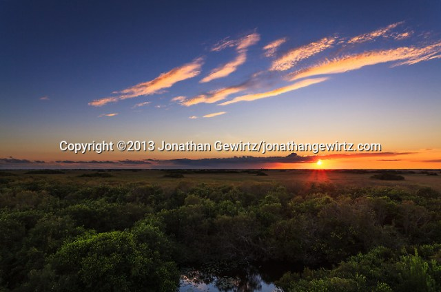A beautiful sunset in the Shark Valley section of Everglades National Park, Florida. WATERMARKS WILL NOT APPEAR ON PRINTS OR LICENSED IMAGES. (© 2013 Jonathan Gewirtz / jonathan@gewirtz.net)