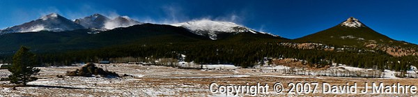 Colorado Panorama -- East Side of Rocky Mountain National Park. Mt. Meeker, Longs Peak to Estes Cone from Colorado Highway 7. Composite of 4 images taken with a Nikon D300 camera and 17-35 mm f/2.8 lens (ISO 200, 35 mm, f/22, 1/60 sec). (David J Mathre)