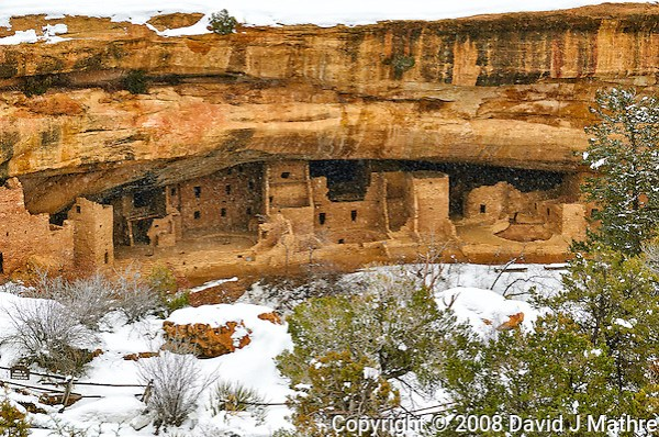 Spruce Tree House cliff dwelling in the winter. Mesa Verde National Park. Image taken with a Nikon D300 camera and 18-300 mm VR lens (ISO 360, 50 mm, f/8. 1/250 sec). (David J Mathre)