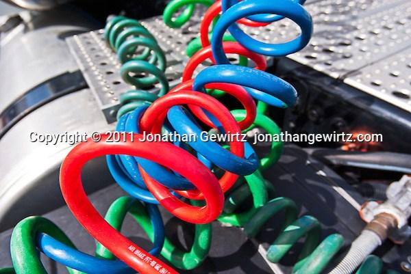 Colorful air brake lines on a large truck. (© Jonathan Gewirtz)
