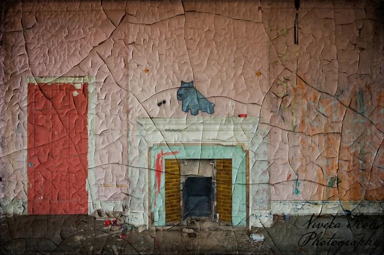 Painting by Luke Da Duke on mantelpiece at Hellingly Asylum (Viveca Koh)
