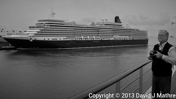 Queen Elizabeth (Cunard Lines) Docking in Southampton, England. Image taken with a Leica X2 camera (ISO 100, 24 mm, f/5, 1/200 sec). In camera B&W. Semester at Sea Spring 2013 Enrichment Voyage. (David J. Mathre)