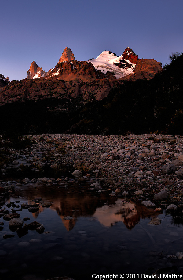 Patagonia Dawn and Reflection from Hosteria El Pilar in El Chalten, Argentina. Image taken with a Nikon D3x and 16-35 mm f/4 lens (ISO 100, 35 mm, f/8, 2.5 sec). (David J Mathre)