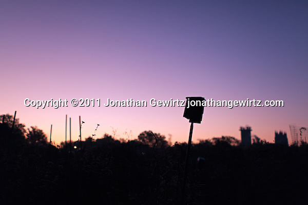 A birdhouse in a community garden at sunrise. The towers of the Washington Cathedral are visible in the background. (Copyright 2011 Jonathan Gewirtz jonathan@gewirtz.net)