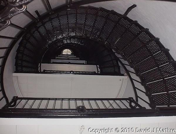 Amelia Island Lighthouse Spiral Stairway. Image taken with a Polariod PDC700 digital camera. (David J Mathre)