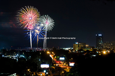 Fireworks explode over downtown Little Rock at the end of the Riverfest festivities in 2012. (Beth Hall)