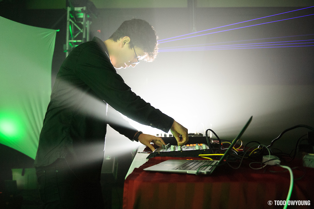 Electronic music producer Alvin Risk performing in the Bass Room at the first annual Pulse Festival in St. Louis on June 8, 2012. (Todd Owyoung)