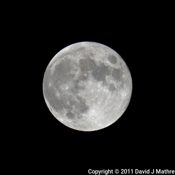 Late Spring Full Moon over New Jersey. Image taken with a Nikon D3x and 600 mm f/4 VR lens (ISO 100, 600 mm, f/4, 1/800 sec) on a Gitzo tripod and Wimberley Head. Raw image processed with Capture One Pro, Focus Magic, and Photoshop CS5 (David J Mathre)