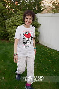 Merrick, New York, USA. May 3, 2018. Francine Goldstein looks forward to her 30th year of participating in AIDS WALK NEW YORK, a fundraising walk and run in Central Park on May 20, 2018. (© 2018 Ann Parry/Ann-Parry.com)
