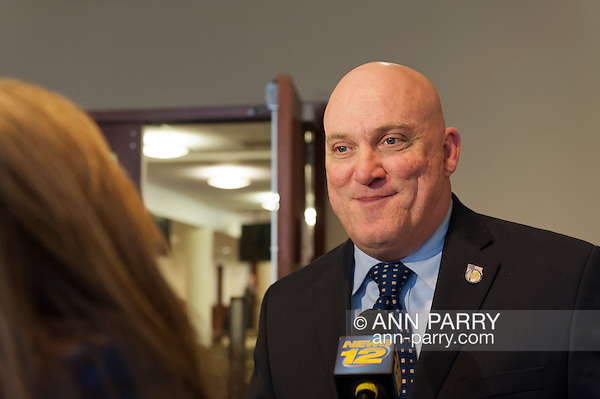 Nassau County Legislature postpones vote on controversial merging of Police Precincts, on Monday, February 27, 2012. Nassau PBA President Jim Carver said he believes Police Benevolent Association and county will talk further. Vote is tentatively rescheduled for March 5. (Ann E Parry/Ann Parry, ann-parry.com)